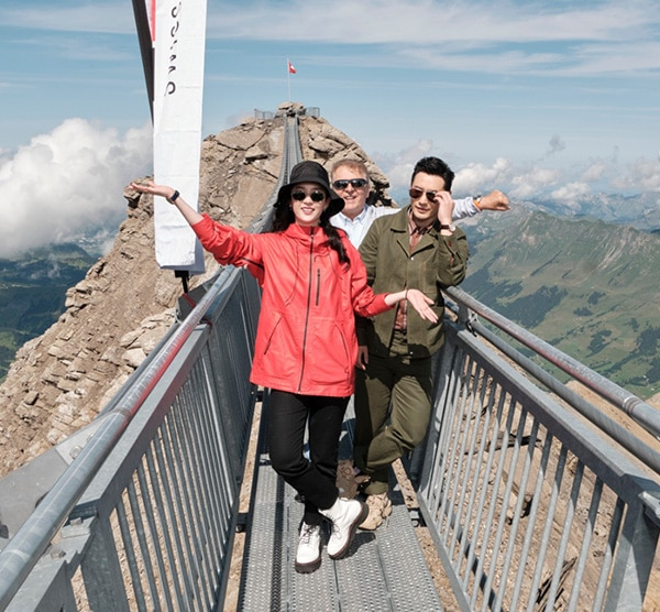 TISSOT BRAND AMBASSADORS LIU YIFEI AND HUANG XIAOMING DISCOVER THE PEAKWALK BY TISSOT