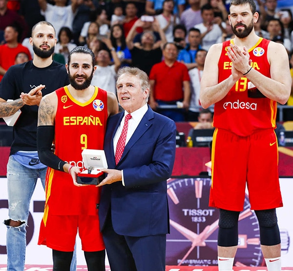 TISSOT PRESIDENT, FRANÇOIS THIÉBAUD AND TISSOT AMBASSADOR TONY PARKER WERE PLEASED TO PARTICIPATE TO THE FINAL OF THE FIBA WORLDCUP 2019